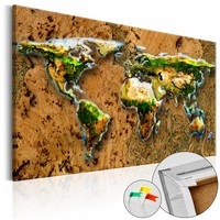 Afbeelding op kurk - Wereld Jungle , Wereldkaart, Bruin/Groen, 1luik