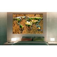 Afbeelding op kurk - Wereld Jungle , wereldkaart, Bruin/Groen, 3 Maten, 1luik