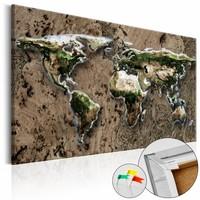 Afbeelding op kurk - Wild World , wereldkaart, Bruin, 3 Maten, 1luik