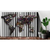 Afbeelding op kurk - Graphite World , Wereldkaart, Multikleur, 1luik