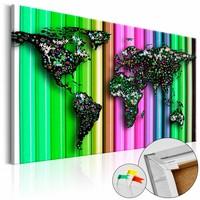 Afbeelding op kurk - Wereldkaart op kleurpotloden