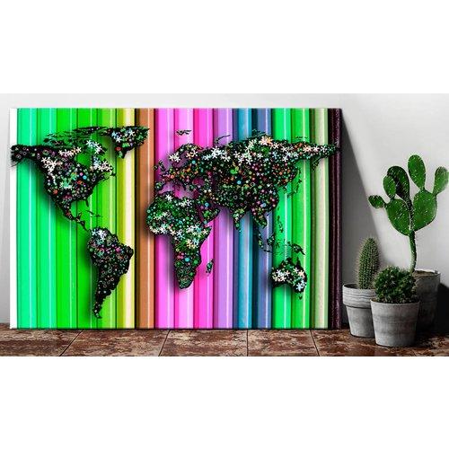 Afbeelding op kurk - Wereldkaart op kleurpotloden, Multi gekleurd, 3 Maten, 1luik