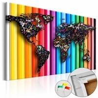 Afbeelding op kurk - Colored Pencil , Wereldkaart, Multikleur, 1luik