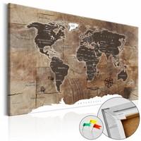 Afbeelding op kurk -Houten Mozaïek,wereldkaart