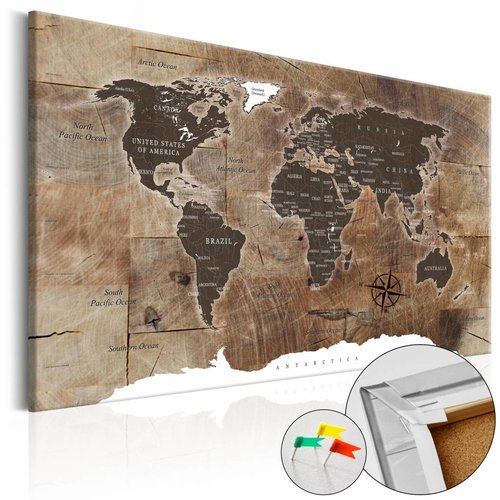 Afbeelding op kurk -Houten Mozaïek, wereldkaart, Bruin, 3 Maten, 1luik