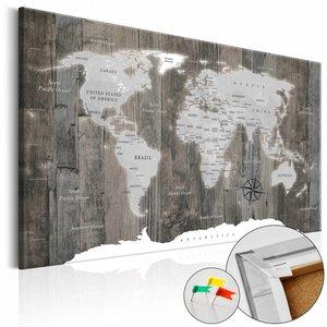 Afbeelding op kurk - World of Wood , Wereldkaart, Hout Look, 1luik