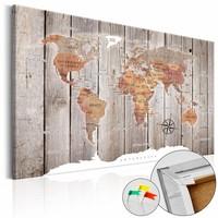 Afbeelding op kurk - Wereld Op Hout, Wereldkaart, Hout Look op Doek, 1luik