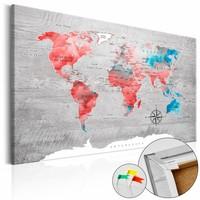 Afbeelding op kurk - Red Roam , Wereldkaart, Rood/Blauw/Grijs,1luik