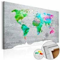Afbeelding op kurk - Groen paradijs, wereldkaart, Multi gekleurd, 3 Maten, 1luik