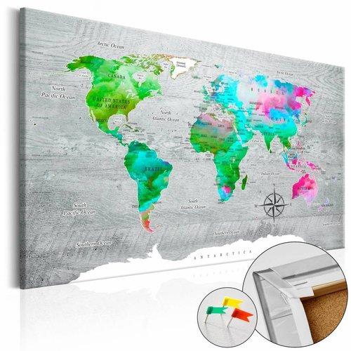Afbeelding op kurk - Groen Paradijs, Wereldkaart, Multikleur, 1luik