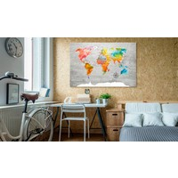Afbeelding op kurk - Multicolored Travels, Wereldkaart, Multikleur, 1luik
