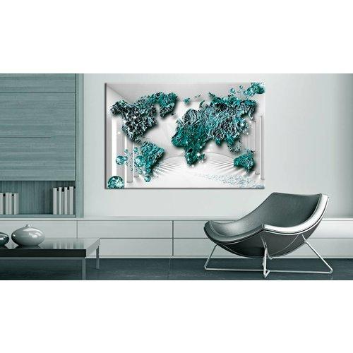 Afbeelding op kurk - Sapphire Continents, wereldkaart, Groen/Grijs, 3 Maten, 1luik