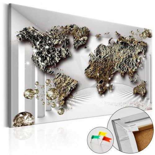 Afbeelding op kurk - Gouden Toekomst, Wereldkaart, Goud/Grijs,1luik