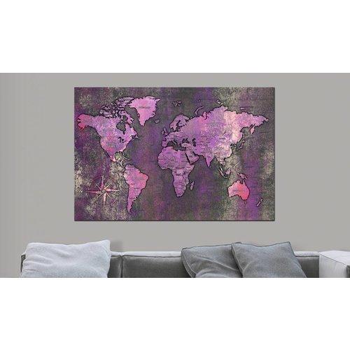 Afbeelding op kurk - Wereld In Het Paars, Wereldkaart, Paars, 1luik