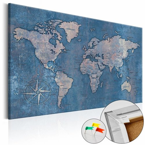 Afbeelding op kurk - Blauwe planeet, Wereldkaart, Blauw, 1luik