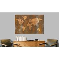 Afbeelding op kurk - Rusty World , wereldkaart, Bruin, 3 Maten, 1luik