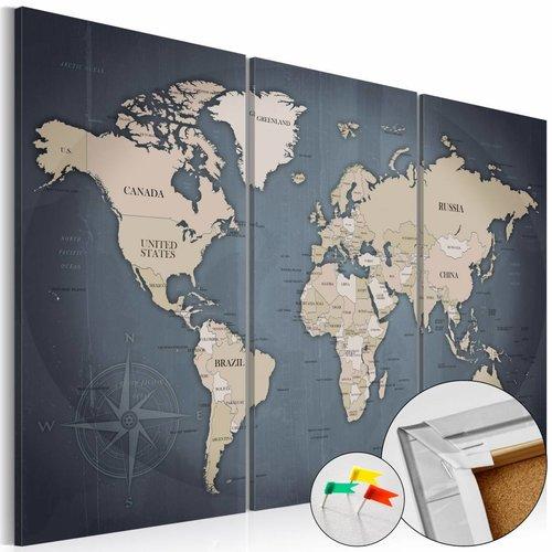 Afbeelding op kurk - Anthracitic World , wereldkaart, Blauw/Grijs,3luik, 3 maten