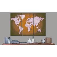 Afbeelding op kurk - Mahogany Oceans , wereldkaart, Briuin/ Grijs, 3 Maten 3luik