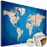 Afbeelding op kurk - Ink Journey , Wereldkaart, Blauw, 3luik