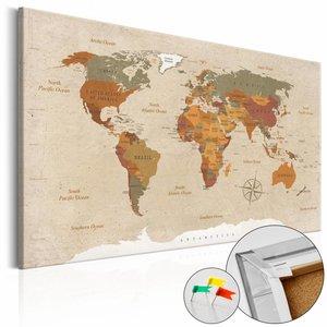 Afbeelding op kurk - Beige Chic , wereldkaart, Beige, 3 Maten, 1luik
