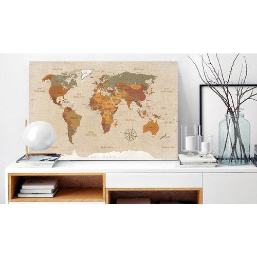 Afbeelding op kurk - Beige Chic , Wereldkaart, Beige, 1luik