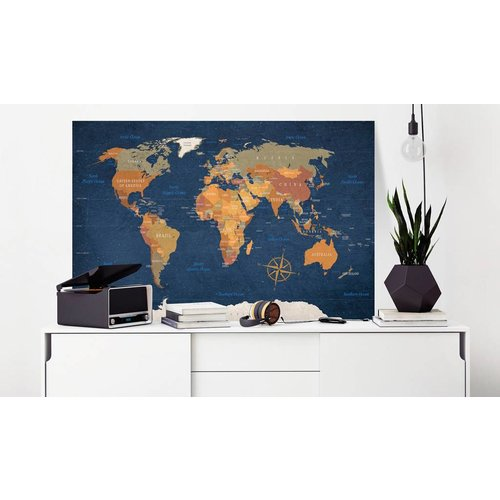 Afbeelding op kurk - Donkere Oceanen, Wereldkaart, Blauw/Bruin, 1luik