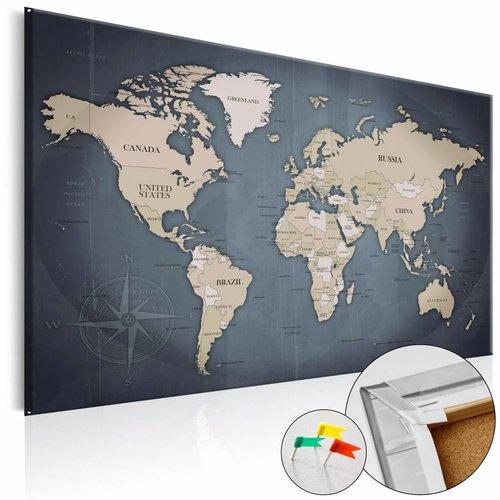 Afbeelding op kurk - Shades of Grey, Wereldkaart, Blauw/Grijs. 1luik