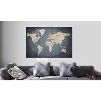 Afbeelding op kurk - Shades of Grey, wereldkaart