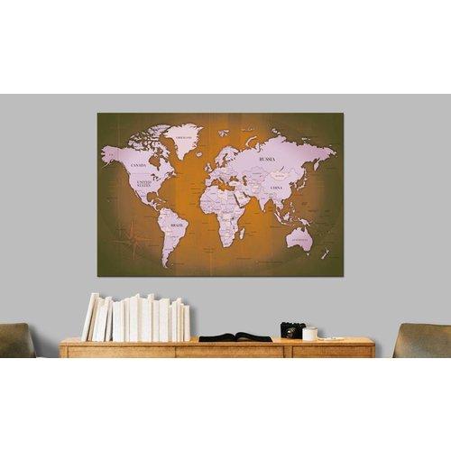 Afbeelding op kurk - Copper Travels , wereldkaart, Bruin/Grijs, 3 Maten, 1luik