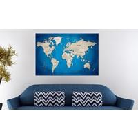 Afbeelding op kurk - Dark Blue Trail , Wereldkaart, Blauw/Grijs,1luik