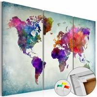 Afbeelding op kurk - Wereld in Kleuren, Wereldkaart, Multikleur, 3luik