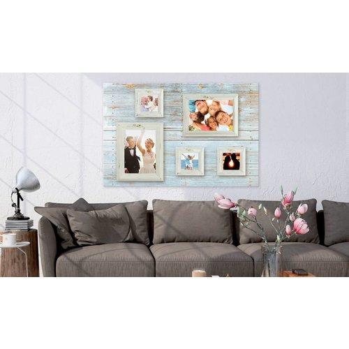 Afbeelding op kurk - Fotolijstjes, Blauw/Grijs, 3 Maten, 1luik