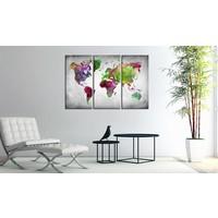 Afbeelding op kurk - Diversity of World , Wereldkaart, Multikleur,  3luik