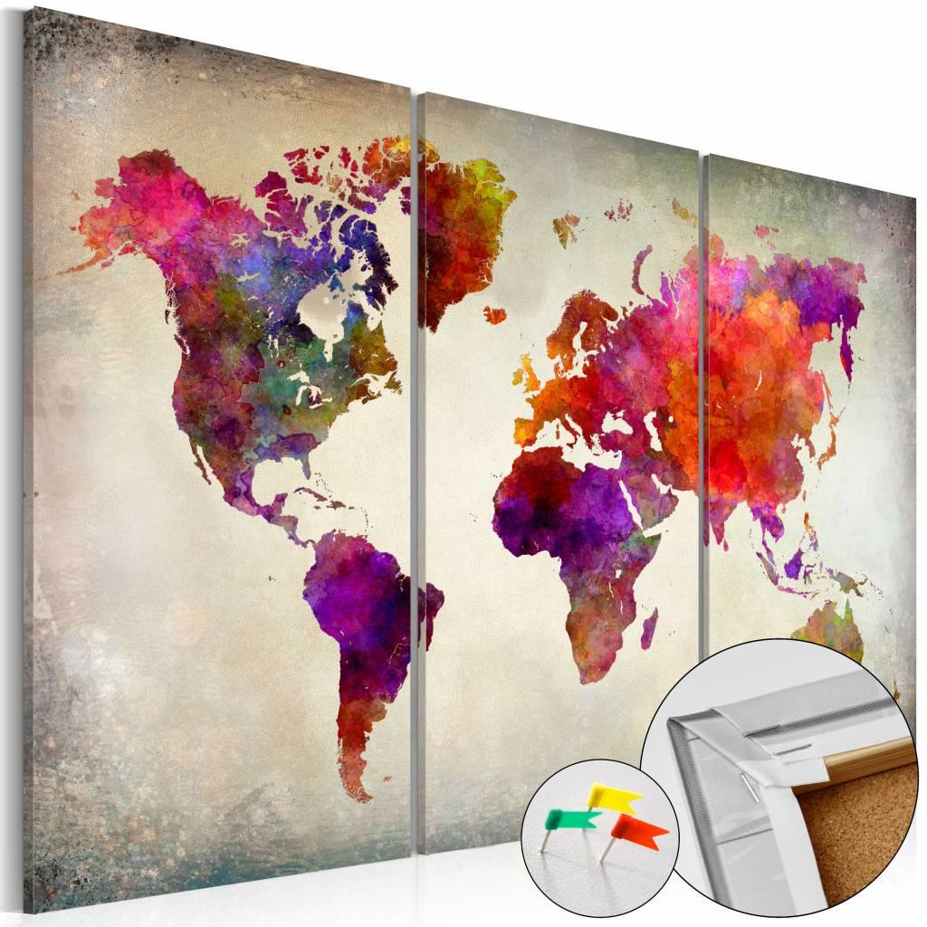 Afbeelding op kurk - Mosaic of Colours , Wereldkaart, Multikleur, 3luik