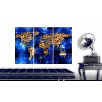 Afbeelding op kurk - Gouden Continenten , Wereldkaart, Blauw/Goud, 3luik
