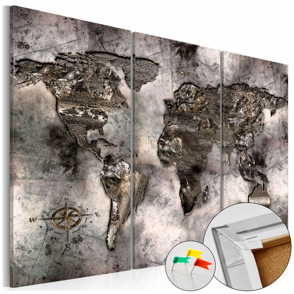 Afbeelding op kurk - Opalescent Map , Wereldkaart, Grijs, 3luik