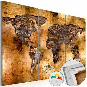 Afbeelding op kurk - De kleur van goud, wereldkaart