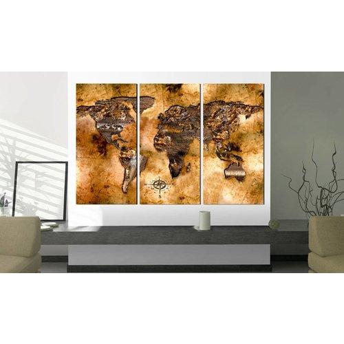 Afbeelding op kurk - De Kleur Van Goud, Wereldkaart, Goud/Bruin, 3luik
