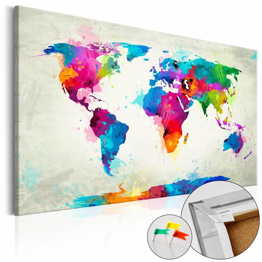 Afbeelding op kurk - Explosie Van Kleuren, Wereldkaart, Multikleur, 1luik