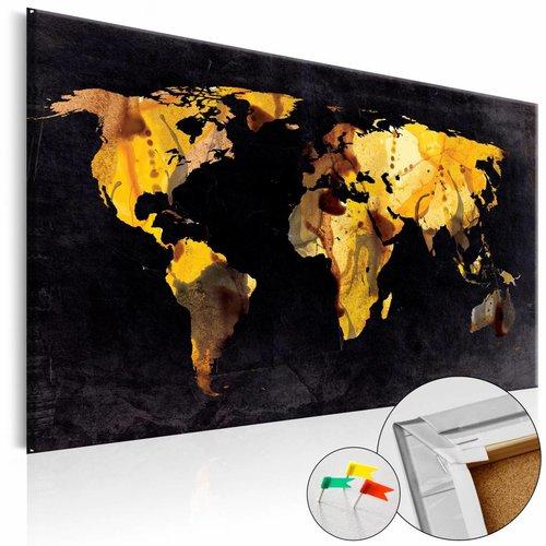 Afbeelding op kurk - If the World were a desert..., Wereldkaart, Goud look /Zwart, 1luik