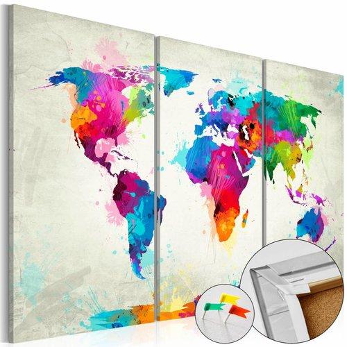 Afbeelding op kurk - Colourful Expression , Wereldkaart, Multikleur, 3luik