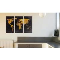 Afbeelding op kurk - Golden Desert , wereldkaart, Goud/Zwart, 3 Maten, 3luik