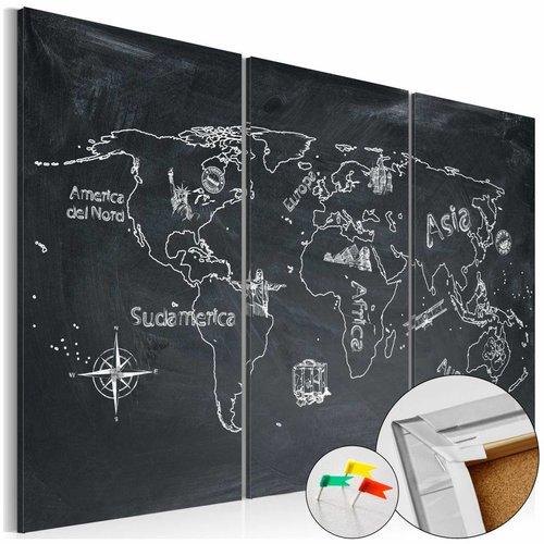 Afbeelding op kurk - Aardrijkskunde Lessen, Wereldkaart, Schoolbord Look, 3luik