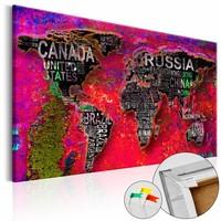 Afbeelding op kurk - Rode aarde, wereldkaart, Multi gekleurd, 3 Maten, 1luik