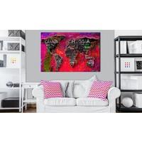 Afbeelding op kurk - Rode Aarde, Wereldkaart, Multikleur,  1luik