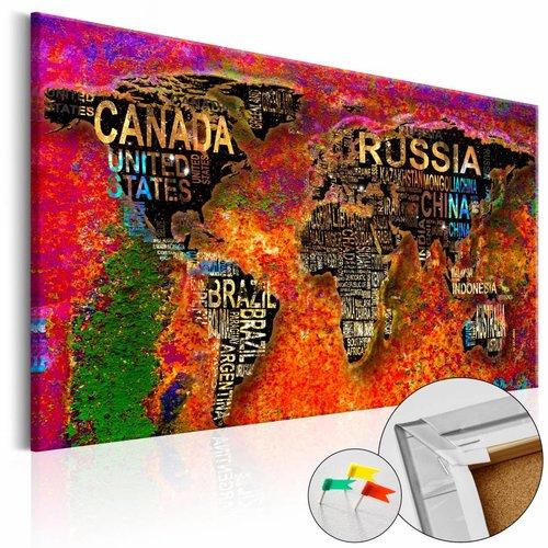 Afbeelding op kurk - Imposante wereld, wereldkaart, Multi gekleurd, 3 Maten, 1luik