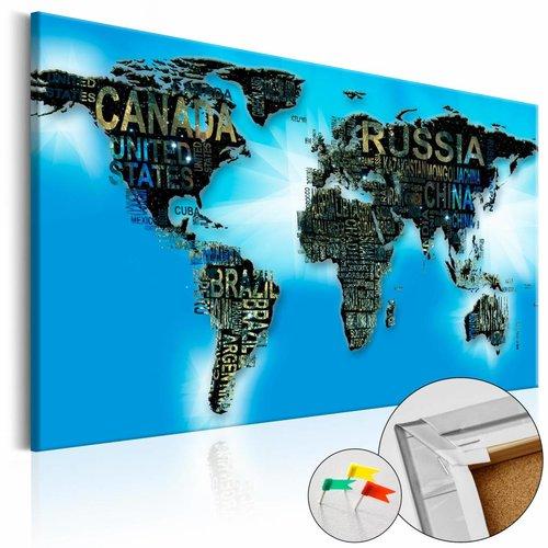 Afbeelding op kurk - Blauwe wereld, wereldkaart, Blauw, 3 Maten, 1luik