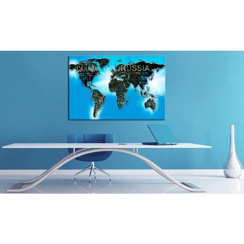 Afbeelding op kurk - Blauwe Wereld, Wereldkaart, Blauw,1luik