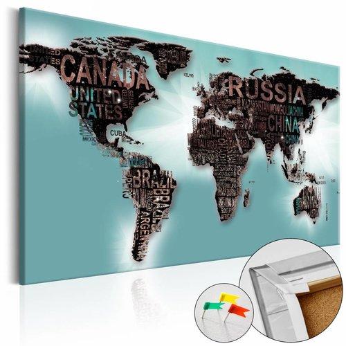 Afbeelding op kurk - Subtiliteit Van De Wereld, Wereldkaart, Mintgroen,1luik