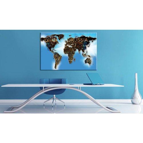 Afbeelding op kurk - Hemelsblauw Reizen, Wereldkaart, Blauw,1luik